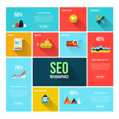 Flat search engine optimization infographics