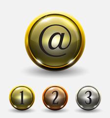 Golden circle glass icon button