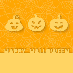 Three orange pumpkins on the background of the web. Halloween