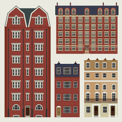 Buildings set with english classic terrace houses