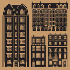 Buildings set with english classic terrace houses - monochrome