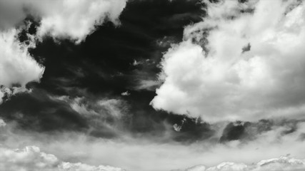 dramatic clouds time-lapse in majestic black and white