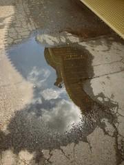 Wasserpfütze mit Spiegelung
