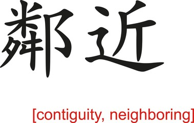 Chinese Sign for contiguity, neighboring