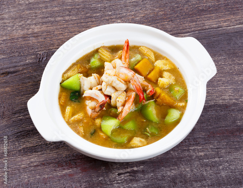 """""""Thai spicy mixed vegetable soup with prawn"""" Stock photo ..."""