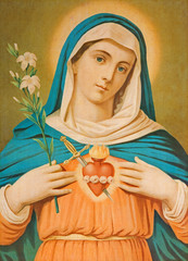 The Heart of Virgin Mary. Typical cahtolic printed image