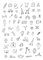 Medicine hand drawn set
