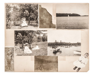 Vintage photo album page. Antique photographs