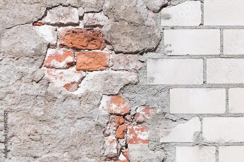 Foto op Plexiglas Wand Mauerwerk, Sanierung, Hintergrund, grunge, Renovierung
