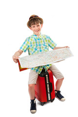 small tourist with a suitcase and a map