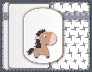 Cool baby card with pony character