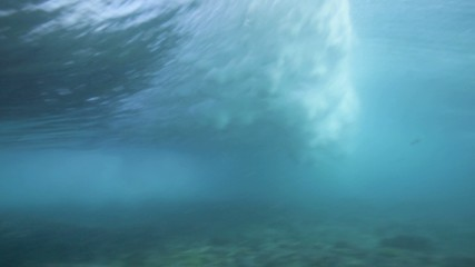 Underwater view of surfing waves and surfer