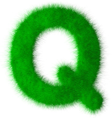 Green alphabet grass Q letter,eco font isolated on white backgro