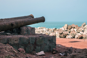 Cannons at Portuguese fortress on Hormoz island, Iran