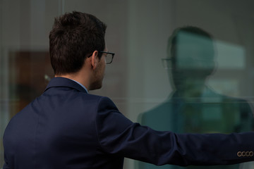 Rear View Of Young Businessman In Office
