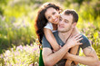 canvas print picture - portrait of a beautiful couple in love
