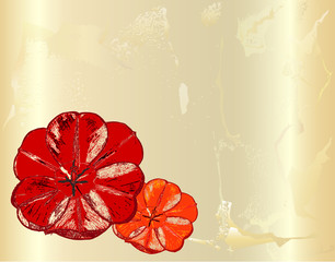 Vintage cracked card with hand drawn red poppies