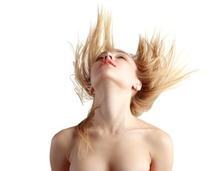 girl with flying blond hair