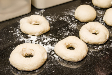 Bagels formed and ready to bake