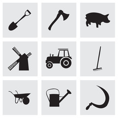 Vector black farming icons set