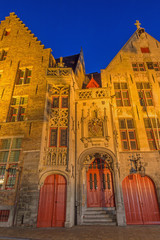 Bruges - Jan van Eyck birth house in evening dusk.