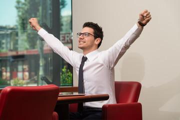 Businessman Rejoicing For His Success