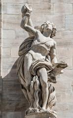 Monuments at facade of the Cathedral of Milano, Duomo di Milano,