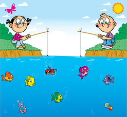 children on fishing