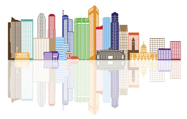 Singapore City Skyline Color with Reflection Vector Illustration
