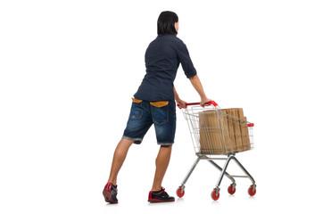 Man shopping with supermarket basket cart isolated on white