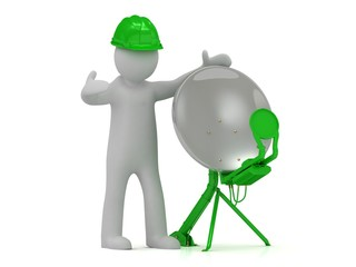 3d man in green helmet adjusts the green satellite