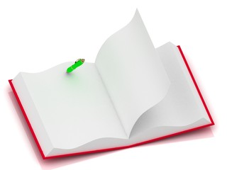 Open notepad in red cover with a one green pen