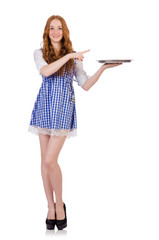 Nice attractive waitress isolated on the white