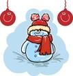 Новогодняя иллюстрация - снеговик