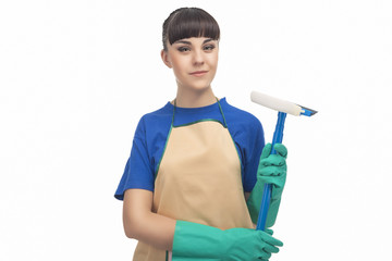 Cleaning Concept: Happy Caucasian Female Holding Rubber Swab and