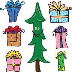 Новогодняя иллюстрация - елка и подарки