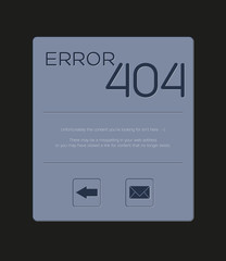 Custom Error 404 - Page not foud with text and buttons for back