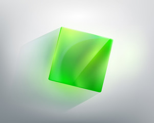 abstraction with a green glass cube