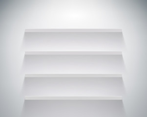empty shelf on white wall