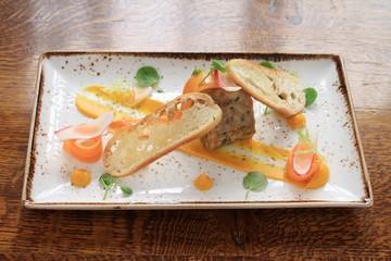 rabbit  chicken terrine plated meal