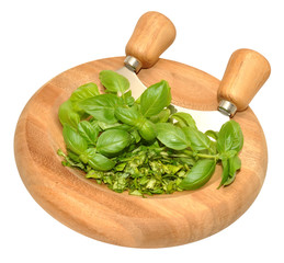 Basil Herb leaves On Chopping Board