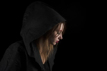 Beautiful Young Woman Wearing Black Hood