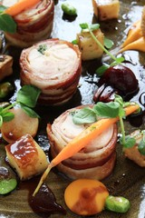 rabbit chicken roulade with vegetables