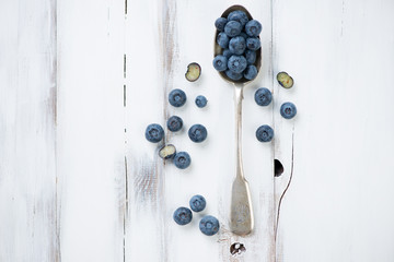 Ripe blueberries, above view, horizontal shot
