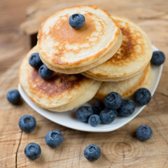 Close-up of homemade fritters with blueberries