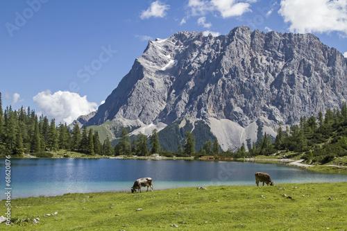 canvas print picture Seeebensee und Zugspitze