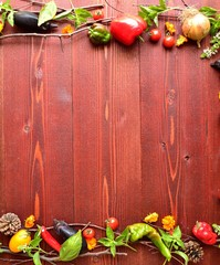 Fresh vegetables with basil leaves