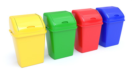 Four colorful Recycle Bins