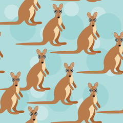 Seamless pattern with funny cute kangaroo animal on a blue backg
