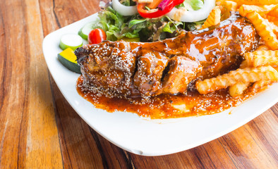 steak barbecue pork  spareribs